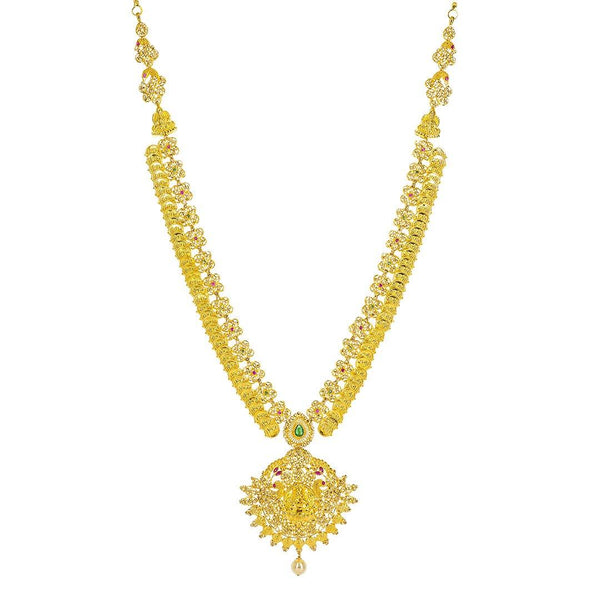 22K Yellow Gold Uncut Diamond Laxmi Necklace Set W/ 22.74ct Uncut Diamonds, Rubies, Emeralds, Pearls & Laxmi Kasu | 22K Yellow Gold Uncut Diamond Laxmi Necklace Set W/ 22.74ct Uncut Diamonds, Rubies, Emeralds, Pea...
