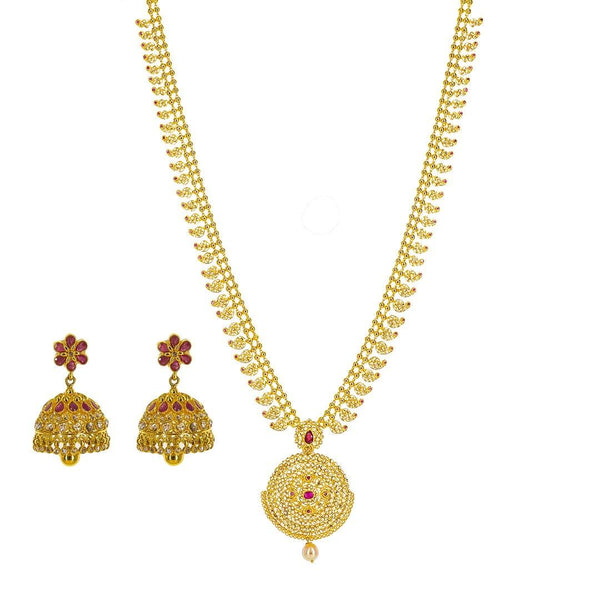 22K Yellow Gold Uncut Diamond Mango Necklace Set W/ 10.91ct Uncut Diamonds & Rubies | 22K Yellow Gold Uncut Diamond Mango Necklace Set W/ 10.91ct Uncut Diamonds & Rubies for women...