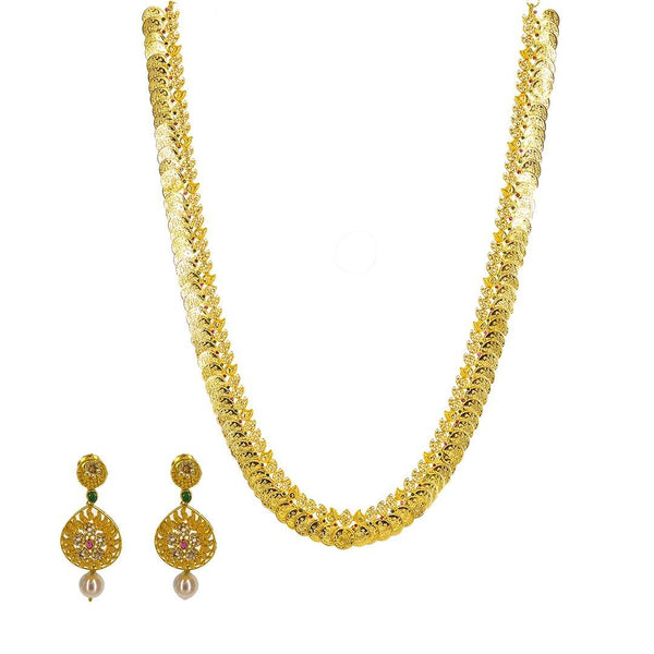 22K Yellow Gold Uncut Diamond Laxmi Necklace Set W/ 9.13ct Uncut Diamonds, Rubies, Emeralds, Pearls & Laxmi Kasu | 22K Yellow Gold Uncut Diamond Laxmi Necklace Set W/ 9.13ct Uncut Diamonds, Rubies, Emeralds, Pear...
