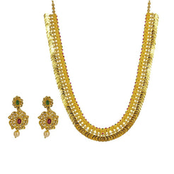 22K Yellow Gold Uncut Diamond Laxmi Necklace Set W/ 9.98ct Uncut Diamonds, Rubies, Emeralds, Pearls & Laxmi Kasu
