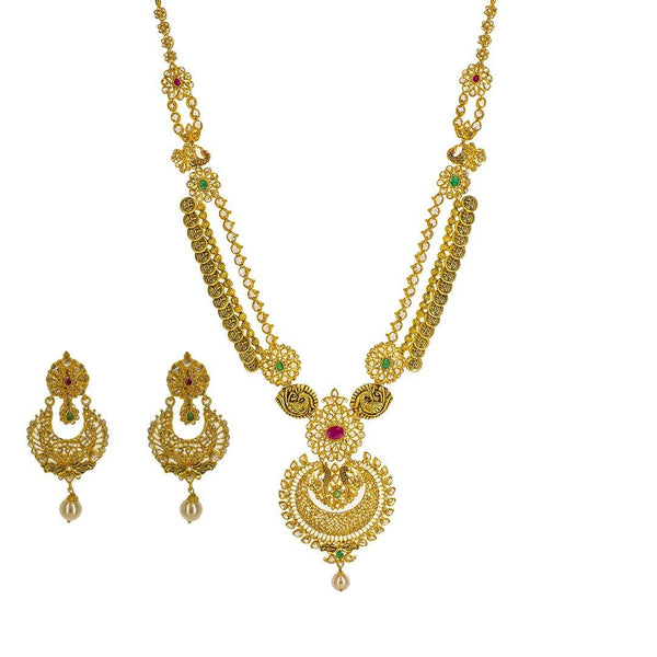 22K Yellow Gold Uncut Diamond Antique Temple Necklace Set W/ 33.95ct Uncut Diamonds, Rubies, Emeralds & Drop Pearls | 22K Yellow Gold Uncut Diamond Antique Temple Necklace Set W/ 33.95ct Uncut Diamonds, Rubies, Emer...