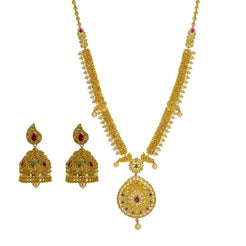22K Yellow Gold Uncut Diamond Necklace Set W/ 16.85ct Uncut Diamonds, Rubies, Emeralds & Pearls