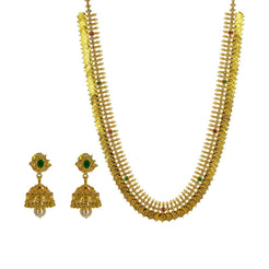 22K Yellow Gold Uncut Diamond laxmi Necklace Set W/ 11.94ct Uncut Diamonds, Rubies, Emeralds, Pearls & Laxmi Kasu