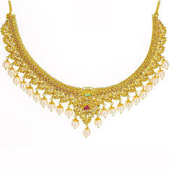 22K Yellow Gold Uncut Diamond Necklace W/16.8ct Uncut Diamonds, Rubies, Emeralds & Drop Pearls