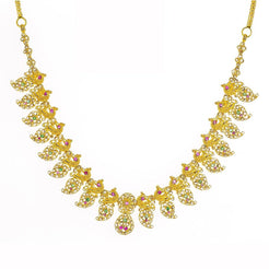 22K Yellow Gold Uncut Diamond Mango Necklace W/ 6.92ct Uncut Diamonds, Rubies & Emeralds