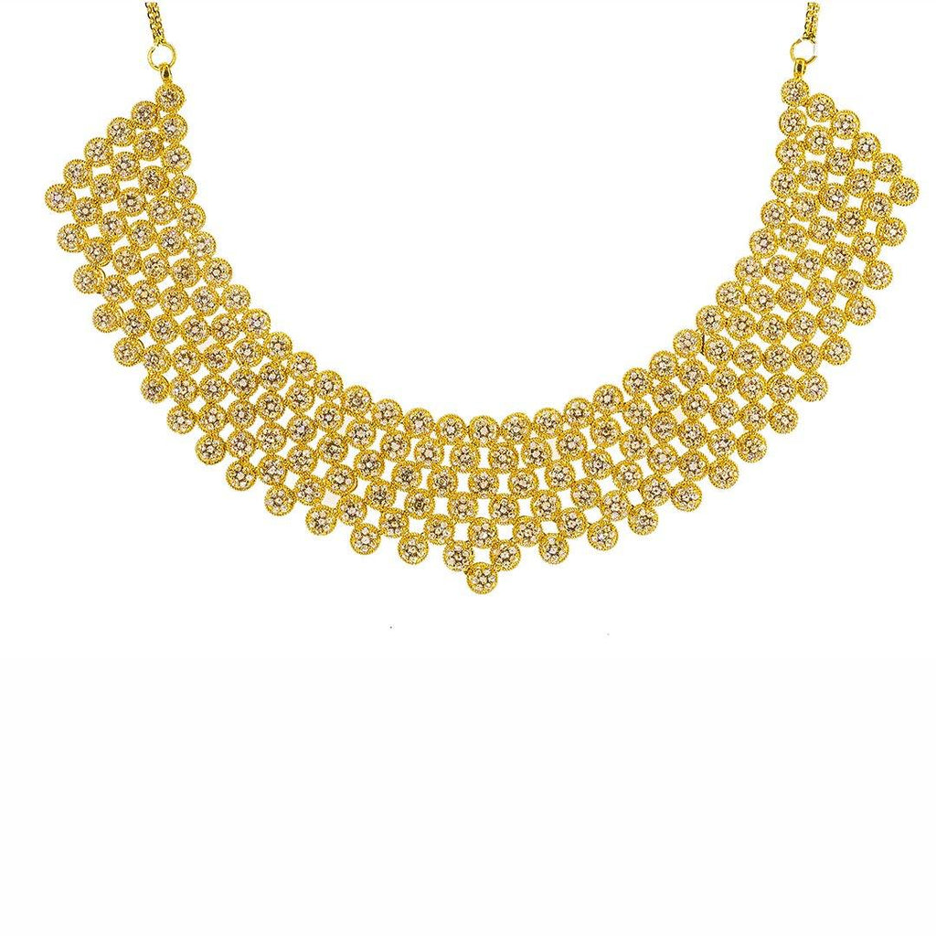 22K Yellow Gold Uncut Diamond Necklace W/ 28.41ct Uncut Diamonds & Cluster Flower Bib | Sold 22K Yellow Gold Uncut Diamond Necklace W/ 28.41ct Uncut Diamonds & Cluster Flower Bib fo...