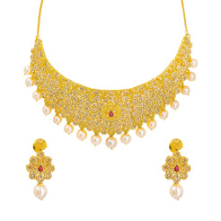 22K Yellow Gold Uncut Diamond Necklace & Earrings Set W/ Rubies, Pearls & Clustered Flowers on Choker Necklace