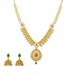 An image of the Anika Laxmi 22K gold necklace set with uncut diamonds from Virani Jewelers.