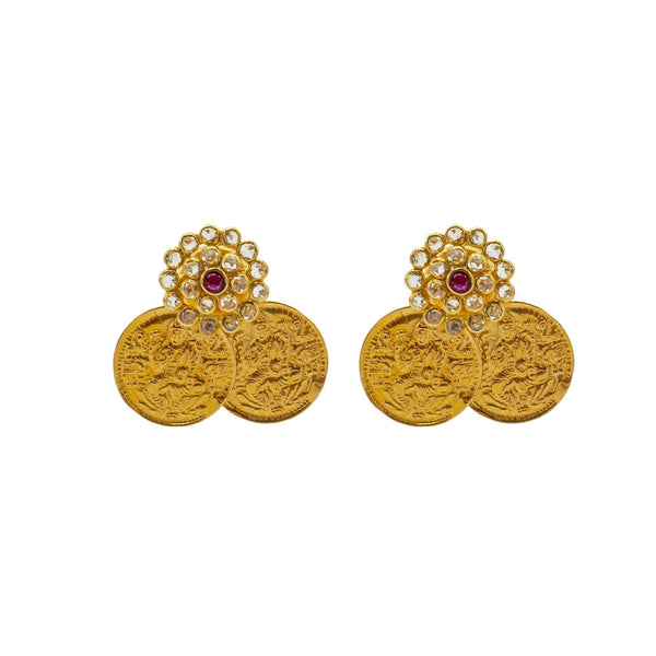 An image of the coin design 22K gold earrings from Virani Jewelers. | Show off your elegant style with this 22K gold necklace set from Virani Jewelers!  Designed with ...