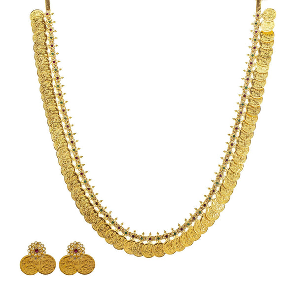 An image of the Arya 22K gold necklace set from Virani Jewelers. | Show off your elegant style with this 22K gold necklace set from Virani Jewelers!  Designed with ...