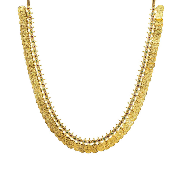 An image of the coin design 22K gold necklace from Virani Jewelers. | Show off your elegant style with this 22K gold necklace set from Virani Jewelers!  Designed with ...