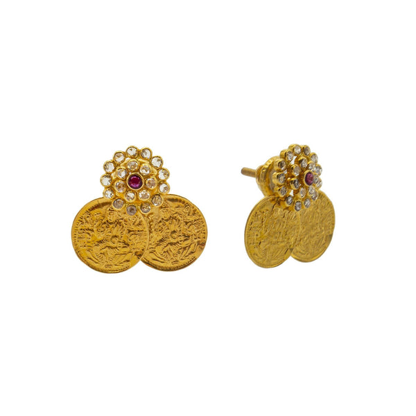 An image showing the front and side views of the coin design 22K gold earrings from Virani Jewelers. | Show off your elegant style with this 22K gold necklace set from Virani Jewelers!  Designed with ...