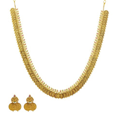 An image of the Laxmi 22K gold necklace set with uncut diamonds from Virani Jewelers.