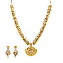 An image of the Arunima Mangalsutra 22K gold necklace set from Virani Jewelers.
