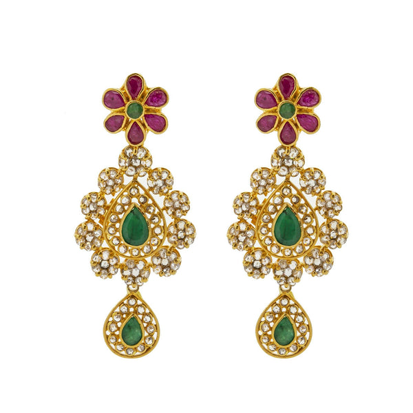 An imag eof the 22K gold earrings with emeralds, rubies, and uncut diamonds from Virani Jewelers. | Look and feel like royalty with this stunning 22K gold necklace set from Virani Jewelers!  Embell...