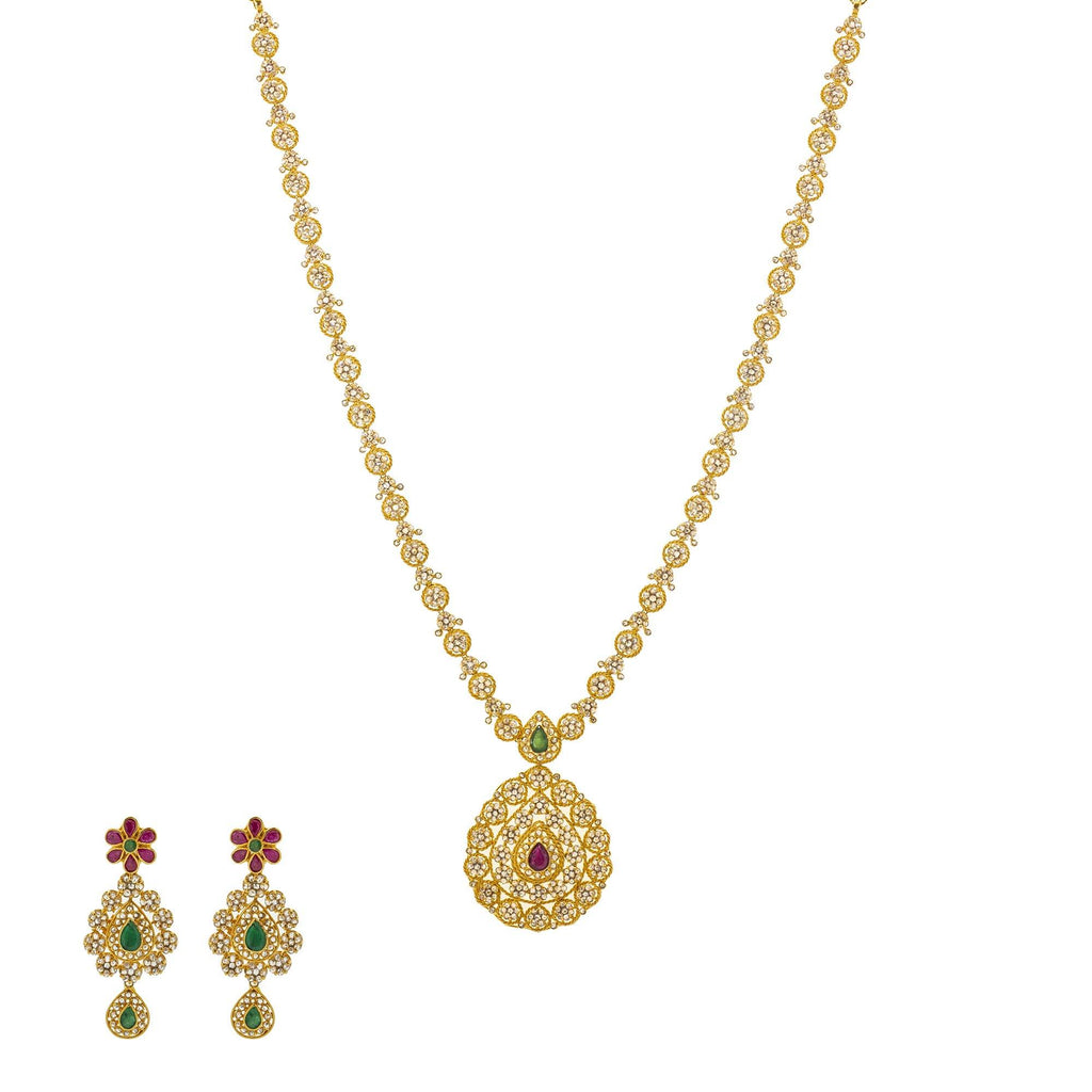 An image of the Ekiya Mangalsutra 22K gold necklace set from Virani Jewelers. | Look and feel like royalty with this stunning 22K gold necklace set from Virani Jewelers!  Embell...