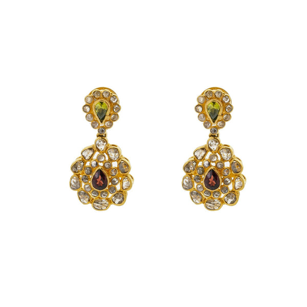 A close-up image of the 22K gold earrings with emeralds, rubies, and uncut diamonds from Virani Jewelers. | Show off the best version of yourself with help from this beautiful 22K gold necklace set from Vi...