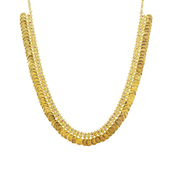An image of the 22K gold necklace with a coin design from Virani Jewelers. | Show off the best version of yourself with help from this beautiful 22K gold necklace set from Vi...