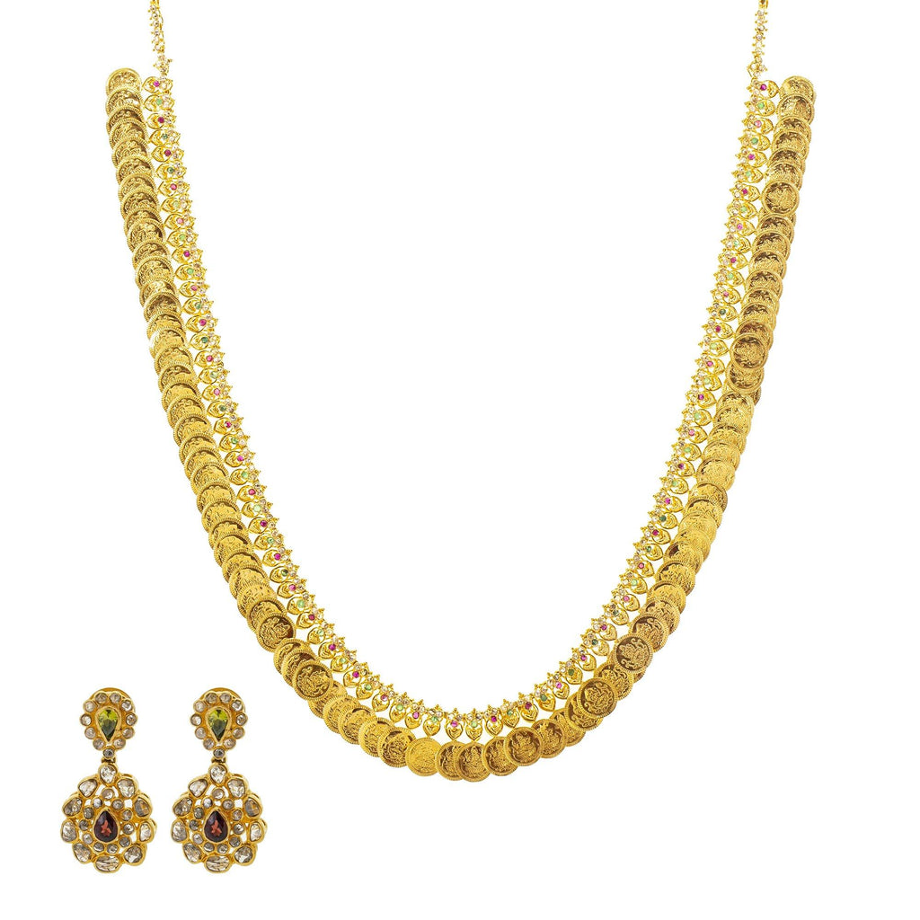 An image of the 22K gold necklace set with a coin design from Virani Jewelers. | Show off the best version of yourself with help from this beautiful 22K gold necklace set from Vi...
