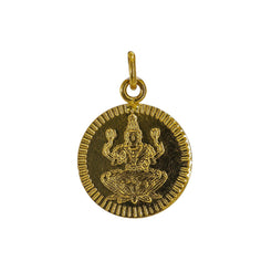 22K Yellow Gold Laxmi Kasu Coin Pendant 1gm