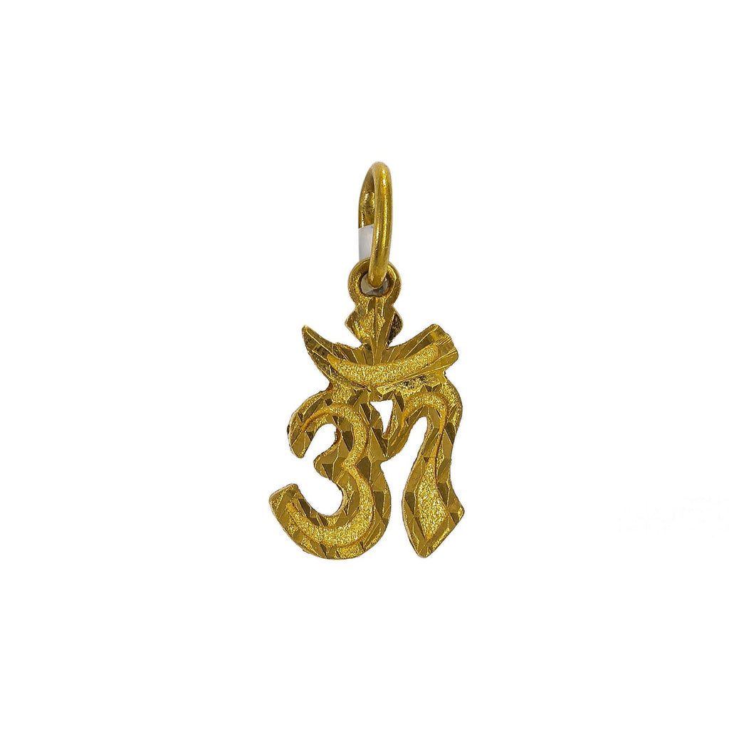 "22K Yellow Gold ""Om"" Pendant W/ Jagged Edges 