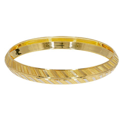 22K Multi Tone Gold Men's Kada Bangle W/ Yellow & White Gold Carousel Stripes