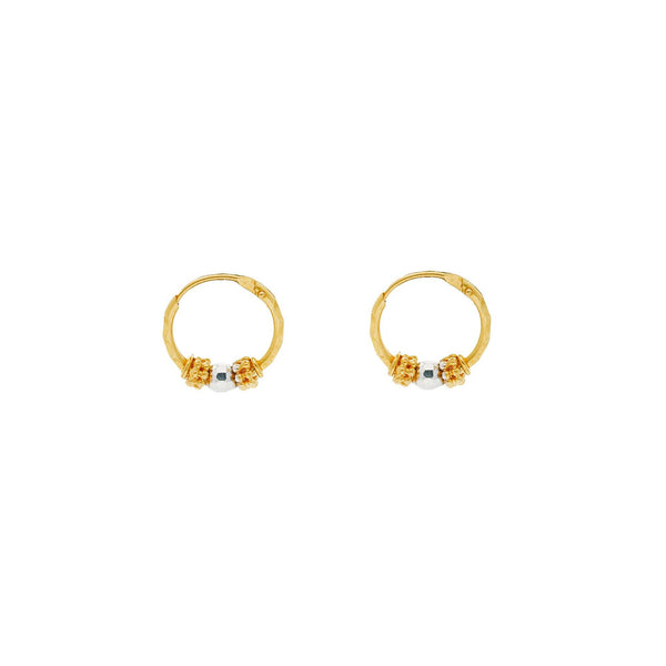 22K Multi Tone Gold Hoop Earrings W/ Detailed Gold Bead Accents |    Add texture and design to your feminine-chic attire with designs such as this pair of 22K mult...