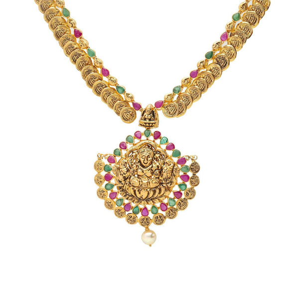 22K Gold & Gemstone Jeweled Medallion Temple Set |  The 22K Gold & Gemstone Jeweled Medallion Temple Set from Virani Jewelers is just what you n...