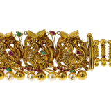 22K Yellow Gold Peacock Vaddanam Waist Belt W/ Emeralds, Rubies, Pearls & Detachable Centerpiece | Add movement and luxury to your most festive looks with Vaddanam waist belts that will transform ...