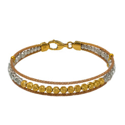 22K  Multi Tone Gold Bangle W/ Open Frame & Gold Bicone Beads