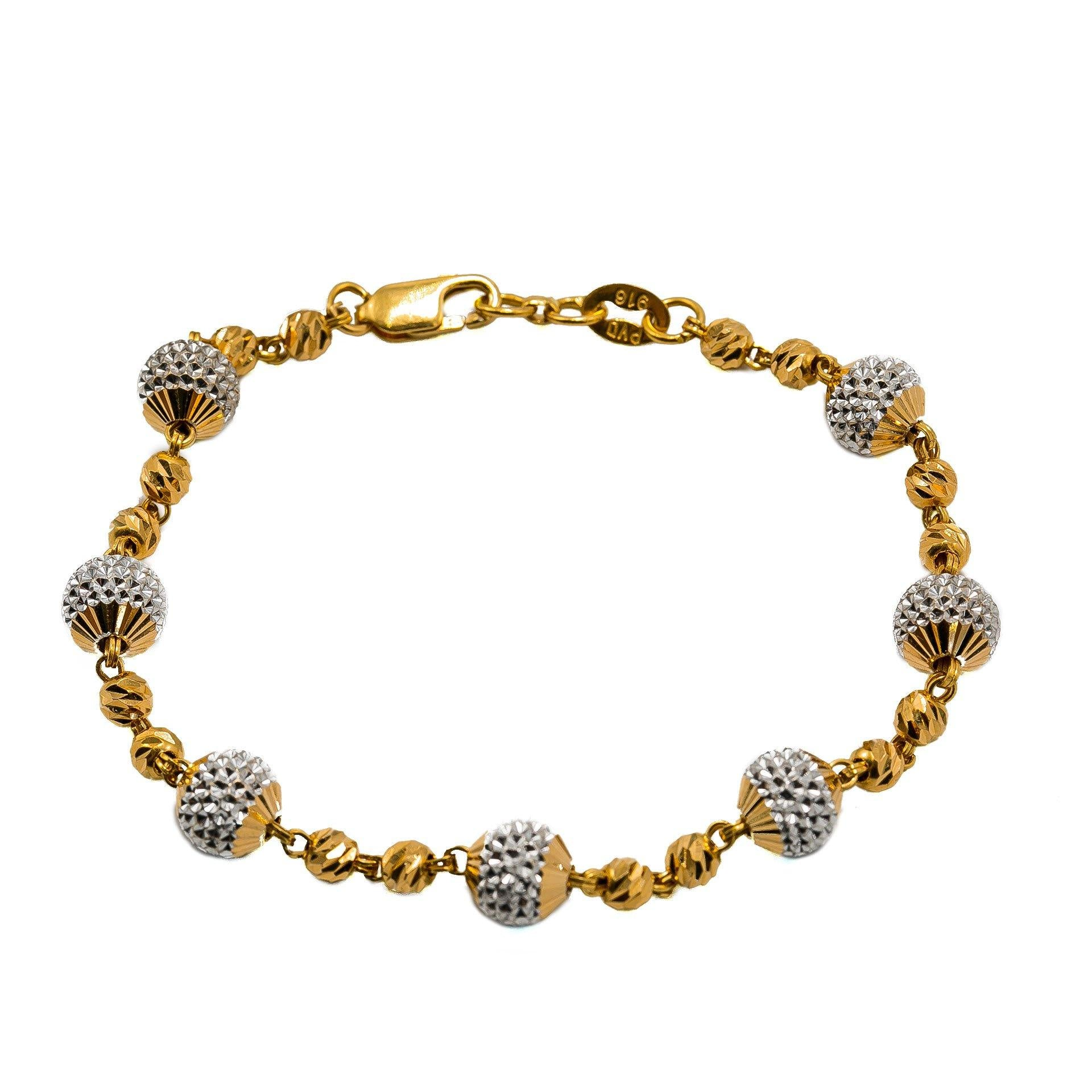 22k Multi Tone Gold Bracelet W Small Hammered Beads Large