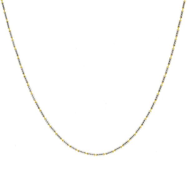 22K Multi Tone Gold Chain For Kids W/ Rounded Bugle Beads | 22K Multi Tone Gold Chain For Kids W/ Rounded Bugle Beads. This elegant 22K multi tone gold chain...