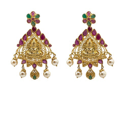 22K Yellow Gold Earrings W/ Rubies, Emeralds, Pearls & Engraved Laxmi Pendant