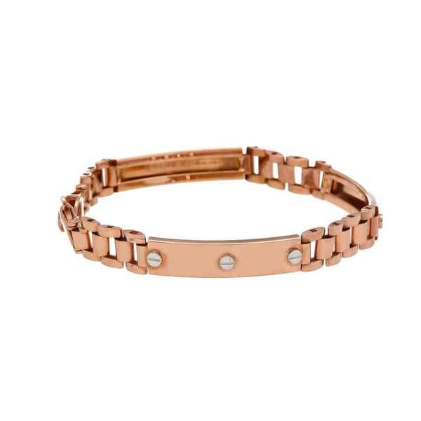 22K Multi Tone Gold Bracelet W/ Watch Band Link & Screw Accents |    Make a statement with your everyday attire with this 22K multi tone gold bracelet, decorated w...