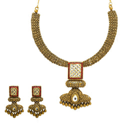 22K Yellow Gold Temple Necklace & Earring Set W/ Kundan & Rubies on Jewelled Double Drop Square Pendant