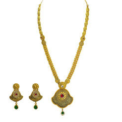 22K Yellow Gold Antique Necklace & Earrings Set W/ Ruby, CZ & Large Fan Pendants on Beaded Strand