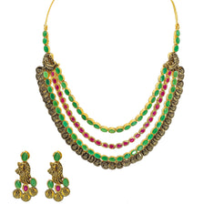 22K Yellow Gold Temple Necklace & Earrings Set W/ Ruby, Emerald, Laxmi Kasu & Draped Multi Strand Collar