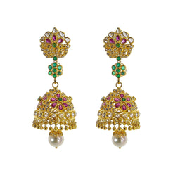 22K Yellow Gold Uncut Diamond Jhumki Earrings W/ 2.45ct Uncut Diamonds, Emeralds, Rubies & Drop Pearls