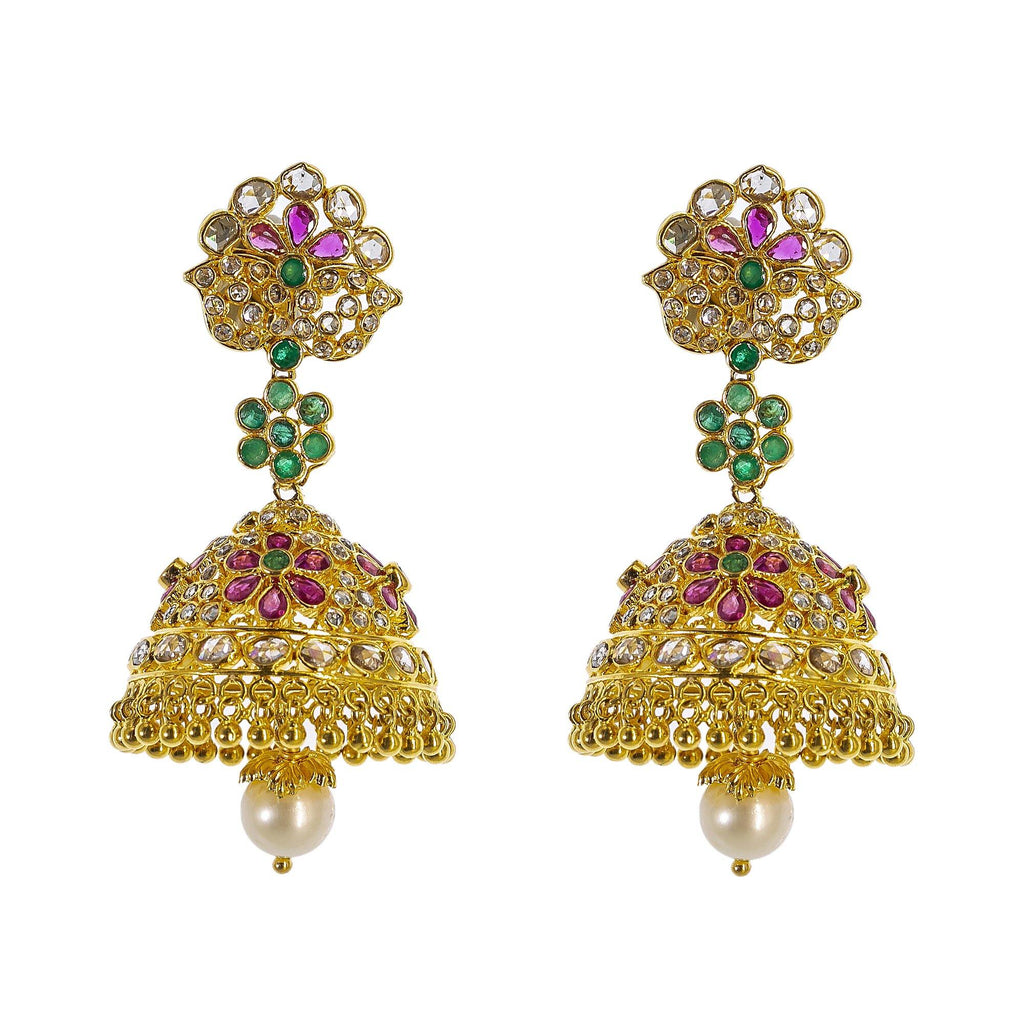 22K Yellow Gold Uncut Diamond Jhumki Earrings W/ 2.8ct Uncut Diamonds, Emeralds, Rubies & Drop Pearls | Explore the beauty and the raw elements of uncut diamonds set in exquisite designs such as these ...