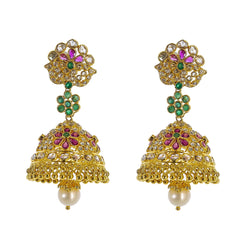22K Yellow Gold Uncut Diamond Jhumki Earrings W/ 2.8ct Uncut Diamonds, Emeralds, Rubies & Drop Pearls