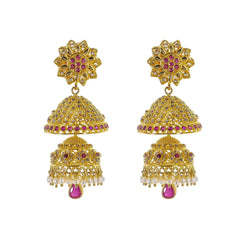 22K Yellow Gold Uncut Diamond Jhumki Earrings W/ 3.5ct Uncut Diamonds, Rubies, Pearls & Double Drop