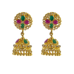 22K Yellow Gold Uncut Diamond Jhumki Earrings W/1.21ct Uncut Diamonds, Emeralds & Rubies