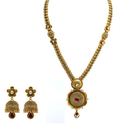 22K Yellow Gold Necklace & Jhumki Earrings Set W/ Rubies, Long Double Beaded Strand & Flower Pendants