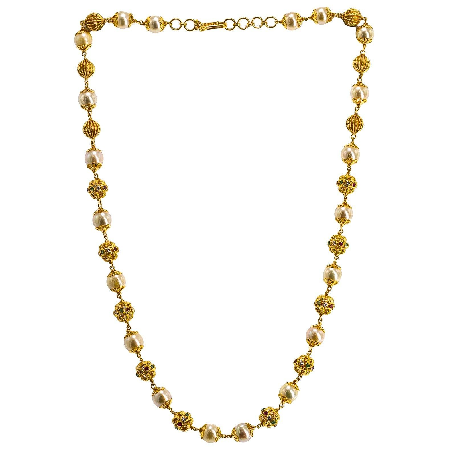 22K Yellow Gold Ball Chain W/ Pearls, Emeralds, Rubies & CZ Gems