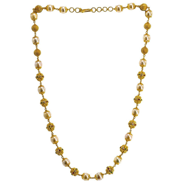 22K Yellow Gold Ball Chain W/ Pearls, Emeralds, Rubies & CZ Gems | 22K Yellow Gold Ball Chain W/ Pearls, Emeralds, Rubies & CZ Gems for women. This elegant 22K ...