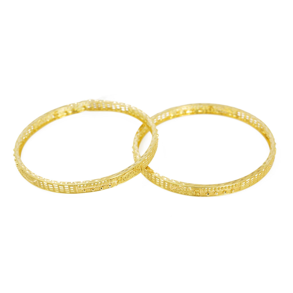 22K Yellow Gold Bangles Set of 2 W/ Intricate Textured Pattern |  22K Yellow Gold Bangles Set of 2 W/ Intricate Textured Pattern for women. These elegant bangle f...