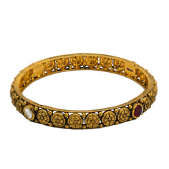 22K Yellow Gold Bangles Set of 2 W/ Rubies, Kundan and Antique Finish Round Details