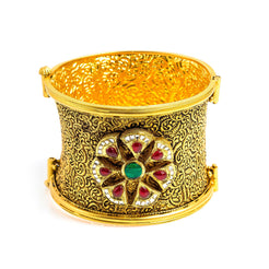 22K Yellow Gold Bangle W/ Rubies, Emeralds & CZ Gems on Antique Finish Flower Cuff