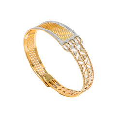 22K Multi Tone Gold Bangle W/ Split Textured Open Design & Openable Band