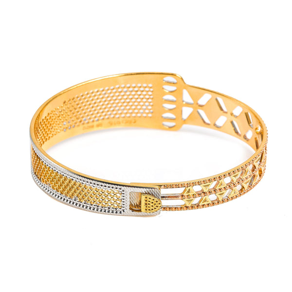 22K Multi Tone Gold Bangle W/ Split Textured Open Design & Openable Band |  22K Multi Tone Gold Bangle W/ Split Textured Open Design & Openable Band for women. This bea...